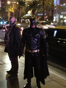 Could it be a Batman and Bale sighting in Vegas?  Alas, it is only several of the army of celebrity impersonators