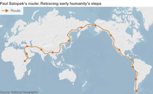 Paul Salopek planned route on his seven year trek across the world